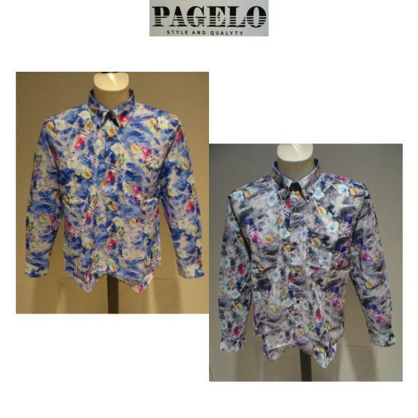 PAGELO/春夏/21新/50%OFF/アートプリント シャツ/ LL・L・M /ブルー・グレー/大きいサイズ/日本製/綿100%/ボタンダウンシャツ|artigiano-uomo