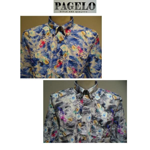 PAGELO/春夏/21新/50%OFF/アートプリント シャツ/ LL・L・M /ブルー・グレー/大きいサイズ/日本製/綿100%/ボタンダウンシャツ|artigiano-uomo|02