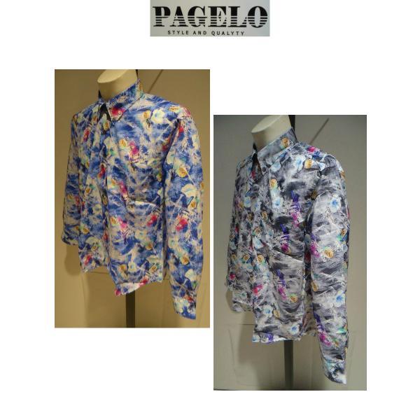 PAGELO/春夏/21新/50%OFF/アートプリント シャツ/ LL・L・M /ブルー・グレー/大きいサイズ/日本製/綿100%/ボタンダウンシャツ|artigiano-uomo|03