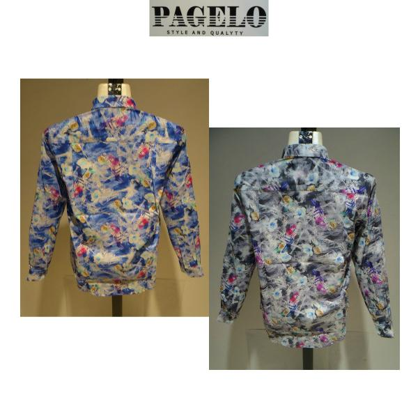 PAGELO/春夏/21新/50%OFF/アートプリント シャツ/ LL・L・M /ブルー・グレー/大きいサイズ/日本製/綿100%/ボタンダウンシャツ|artigiano-uomo|04