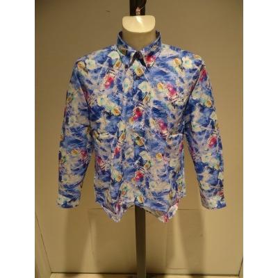 PAGELO/春夏/21新/50%OFF/アートプリント シャツ/ LL・L・M /ブルー・グレー/大きいサイズ/日本製/綿100%/ボタンダウンシャツ|artigiano-uomo|07