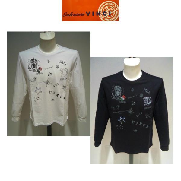 VINCI<ビンチ>春夏/50%OFF/ラインストーン 長袖Tシャツ/52・3L 別注サイズ/ホワイト・ブラック/大きいサイズ/ラインストーン&プリント/現品限り artigiano-uomo