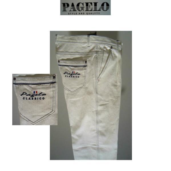 PAGELO/春夏/21新作/50%OFF/ストレッチ&ジーンズ/w82~w105cm(別注サイズ)ホワイト/大きいサイズ/ワンタック/人気モデル|artigiano-uomo