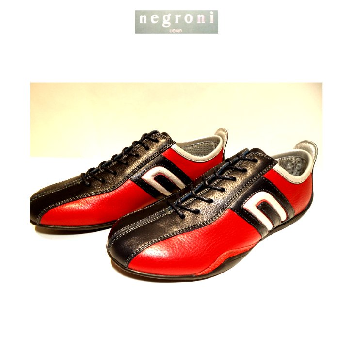 negroni(ネグローニ)IDEA/ドライビングシューズ(牛革)レッド×ネイビー/24.0cm〜27.0cm/日本製/3Eサイズ/20新作&当店コラボモデル!|artigiano-uomo