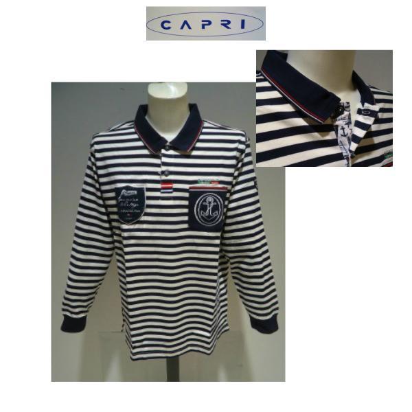 CAPRI <52・3L>春夏/60%OFF/マリンボーダー 長袖ポロシャツ/52(3L)別注サイズ/ネイビー/大きいサイズ/現品処分|artigiano-uomo