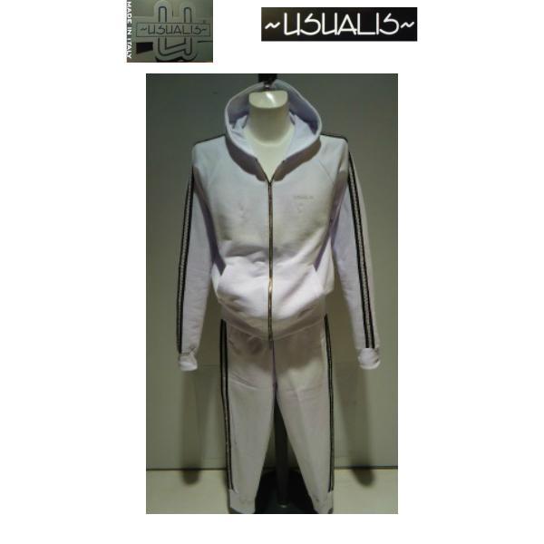 USUALIS<ウザリス>25%OFF/パーカートップス&パンツ/XL(2L) サイズ/ホワイト/イタリア製/大きいサイズ/ALLシーズン/綿100%/現品限り artigiano-uomo