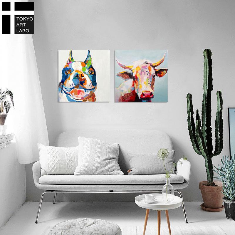 絵画 おしゃれ かわいい インテリア 絵 牛と犬の絵 ブルドッグ 壁掛け 人気 サル ひまわり テレビドラマ使用 手書きの油絵