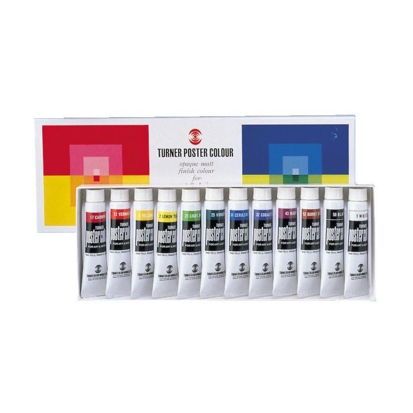 メール便可 高い素材 ターナー ポスターカラー 11mL チューブ入 激安通販ショッピング 絵具 12色セット えのぐ 絵画