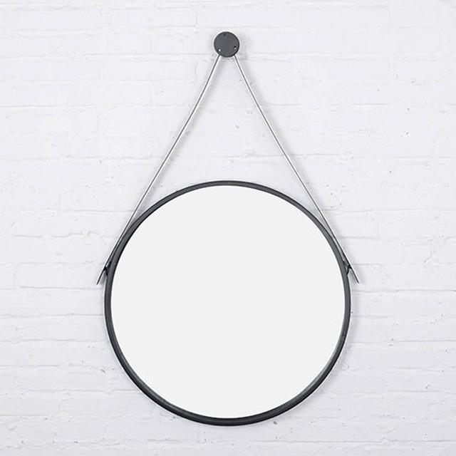 ウォールハンギング ウォールハンギング サークルミラー 吊り鏡 アイアンフレーム 直径40cm ブラック art of 黒 シンプル コンテンポラリー 鉄 北欧 モノトーン バスルーム パ