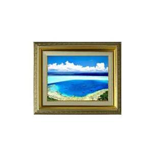 ブルーオーシャン F4サイズ 【油絵 直筆仕上げ】【額縁付】 油彩 風景画 オリジナルインテリア絵画 風水画 477×387mm 送料無料