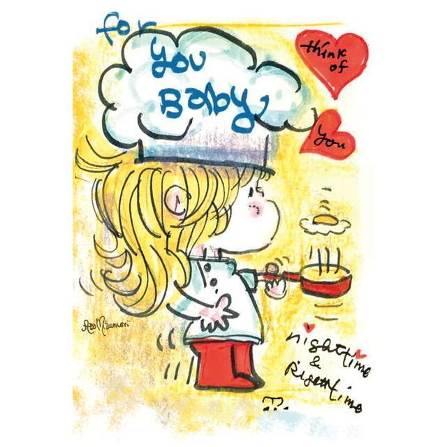 【水森亜土ちゃん】オリジナルポストカード 数量限定販売 かわいい 女の子 料理 黄色 絵ハガキ 手描き風 artsalonwasabi