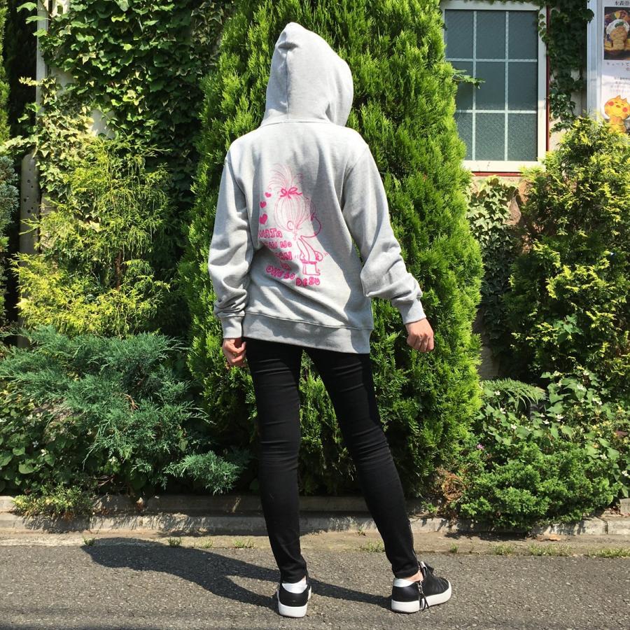 【水森亜土】オリジナルジップアップパーカー「おへそ」<グレー><M/L><男女兼用> 大人かわいい 大人カジュアル スウェット|artsalonwasabi|05