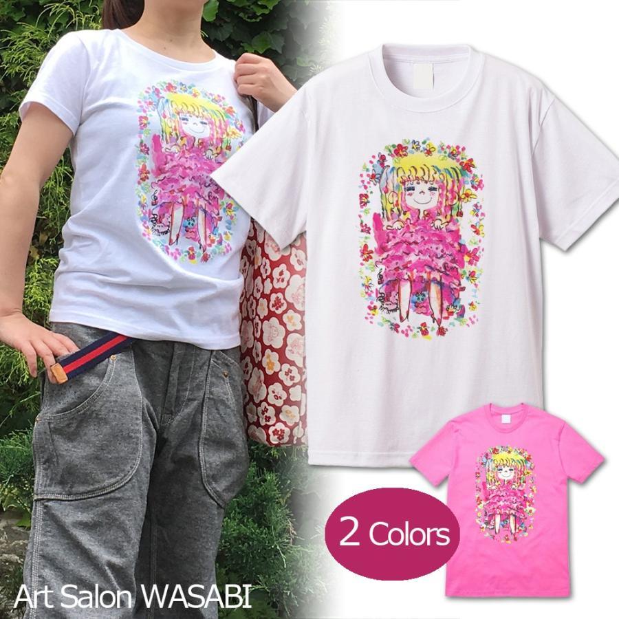 【水森亜土】《アートサロン和錆限定!》オリジナルTシャツ<ホワイト><M><L> 大人かわいい 大人カジュアル カラフル イラスト|artsalonwasabi