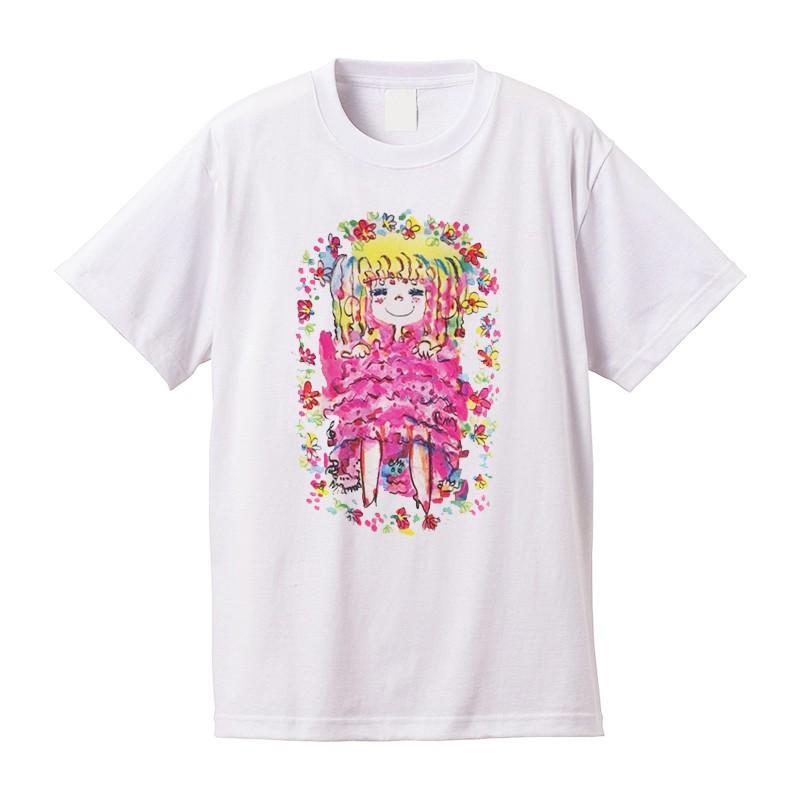 【水森亜土】《アートサロン和錆限定!》オリジナルTシャツ<ホワイト><M><L> 大人かわいい 大人カジュアル カラフル イラスト|artsalonwasabi|02