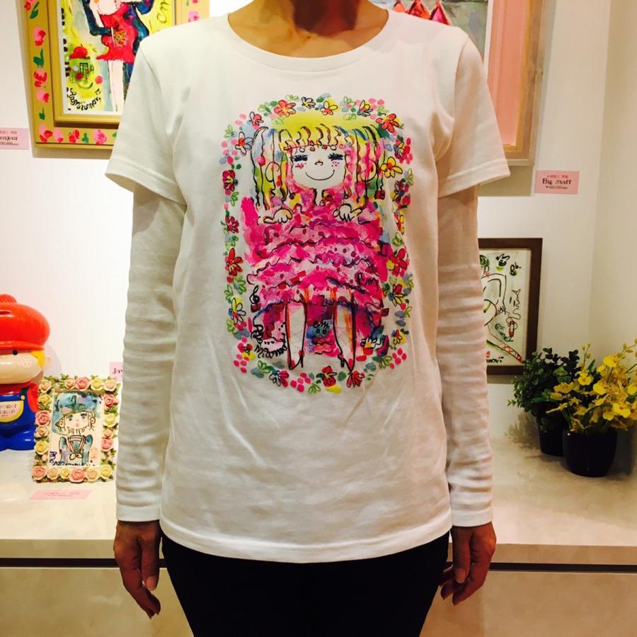 【水森亜土】《アートサロン和錆限定!》オリジナルTシャツ<ホワイト><M><L> 大人かわいい 大人カジュアル カラフル イラスト|artsalonwasabi|04