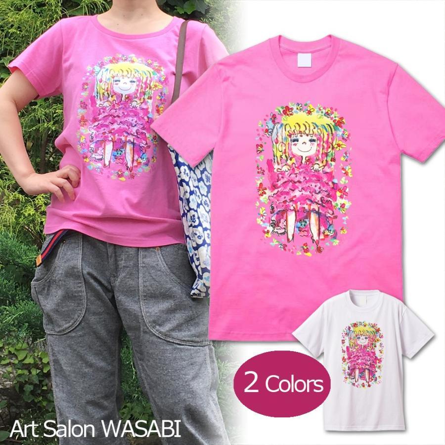 【水森亜土】《アートサロン和錆限定!》オリジナルTシャツ<ピンク><M><L> 大人かわいい 大人カジュアル カラフル イラスト artsalonwasabi