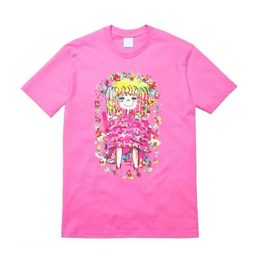 【水森亜土】《アートサロン和錆限定!》オリジナルTシャツ<ピンク><M><L> 大人かわいい 大人カジュアル カラフル イラスト artsalonwasabi 02