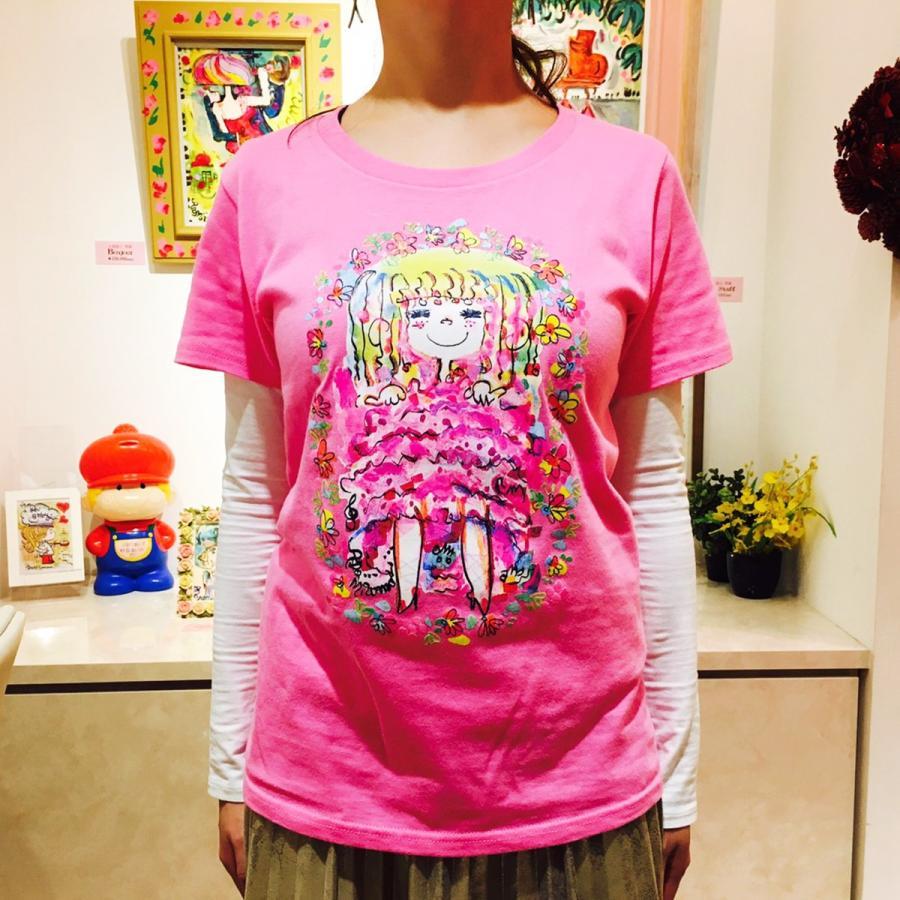 【水森亜土】《アートサロン和錆限定!》オリジナルTシャツ<ピンク><M><L> 大人かわいい 大人カジュアル カラフル イラスト artsalonwasabi 04