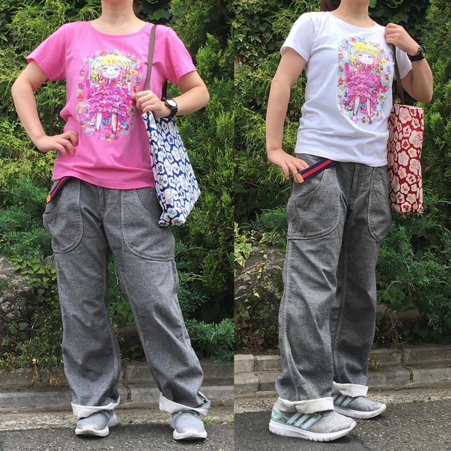 【水森亜土】《アートサロン和錆限定!》オリジナルTシャツ<ピンク><M><L> 大人かわいい 大人カジュアル カラフル イラスト artsalonwasabi 05
