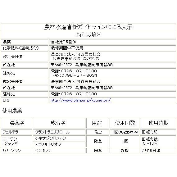 コシヒカリ 玄米 30kg こうのとり米 令和2年産 送料無料 兵庫県産|arumama|05