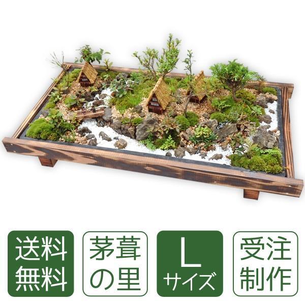 お中元 盆栽 ミニ庭園 盆景【茅葺の里(L)】 arumama
