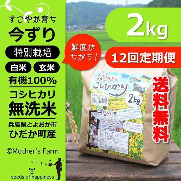 【定期購入】 令和2年産2kgx12回 玄米 白米 今ずり米 無洗米 減農薬・特別栽培米 コシヒカリ arumama