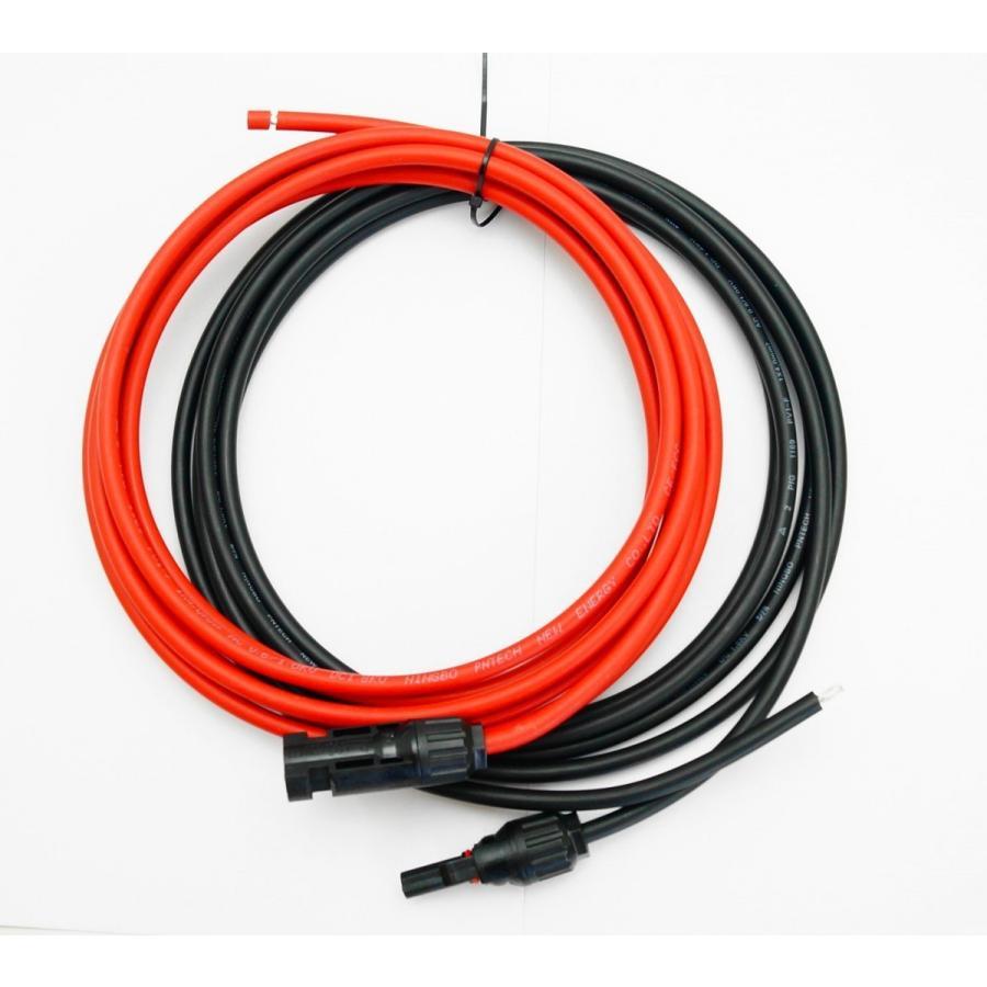 ソーラーケーブル延長ケーブル MC4 コネクタ付き 5m 2.5sq  赤と黒2本セット/ケーブル径5.3mm arusena39 02