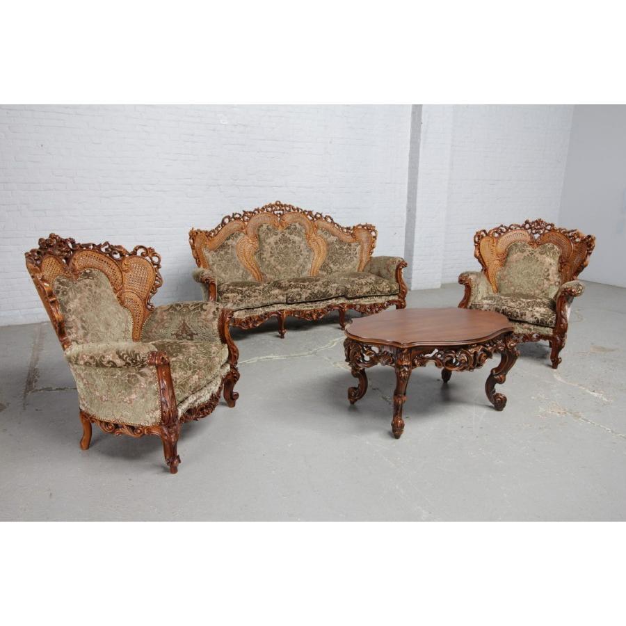-先行販売品- アンティーク家具 ソファ ソファ チェア テーブル 3点セット ウォールナット製 1940年代 イタリア原産 欧州アンティーク市場直輸入 #8548