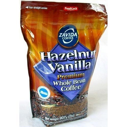 ZAVIDA ザビダ ヘーゼルナッツ バニラホールビーン コーヒー豆 907g×2個 フレーバーコーヒー asahi-store-chiba