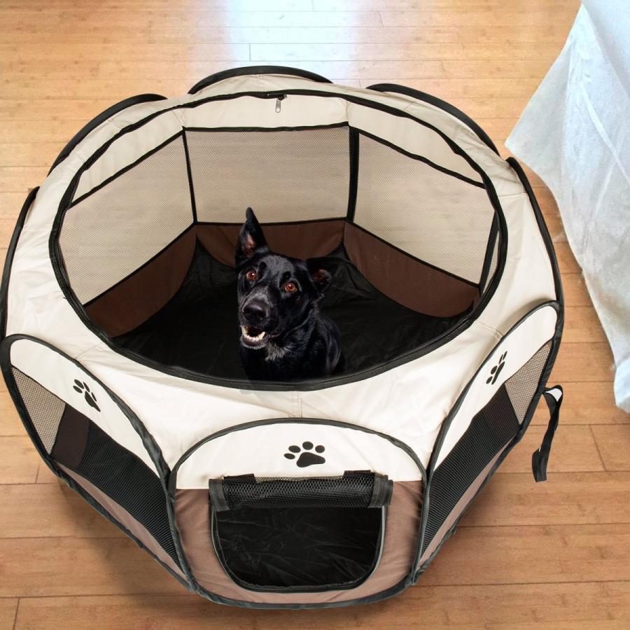 BIGWING 折りたたみ 八角形 ペットサークル プレイサークル 犬 猫 兼用 コンパクト メッシュ お出かけ用品 コーヒー S|asahi-store-chiba|02
