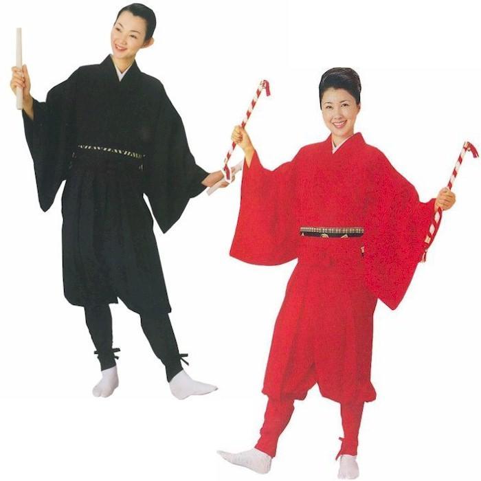 たっつけ袴 セット 黒 赤 s8710-52 たっつけ 袴 はかま 袴下着物 玉すだれ 衣装 日舞 日本舞踊 大道芸 お取り寄せ商品