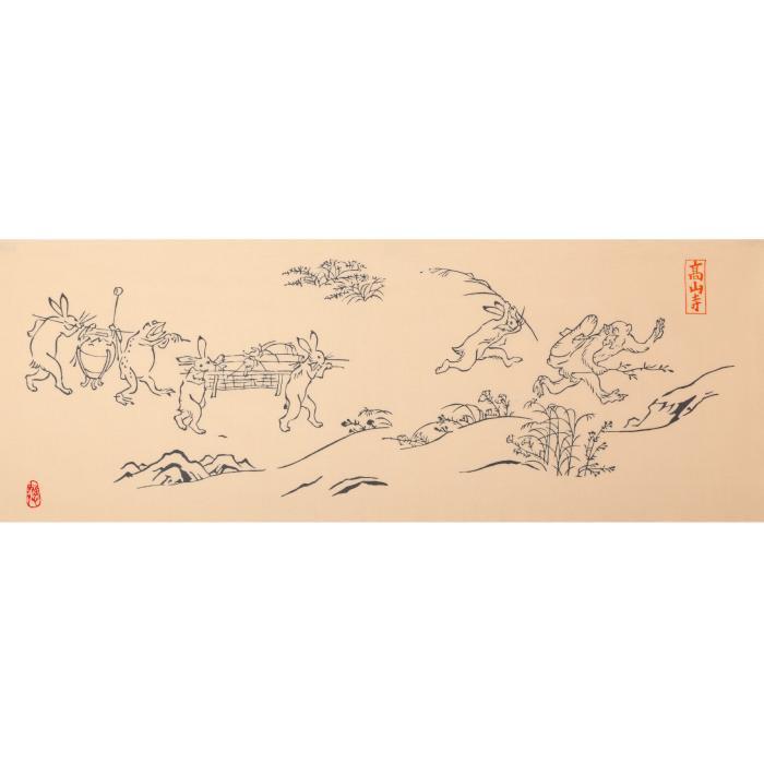 絵手ぬぐい 鳥獣戯画 高山寺 京都 和インテリア 飾る 日本製 綿100 日本土産 外国人に人気 アート蒼 6075 手ぬぐい専門店 麻布十番 麻の葉 通販 Yahoo ショッピング