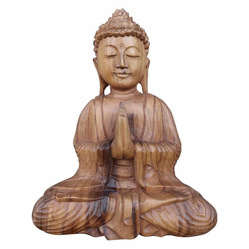 ブッダの木彫り 26cm 合掌 座像 スワール無垢材 【木製仏像 仏陀置物 ...