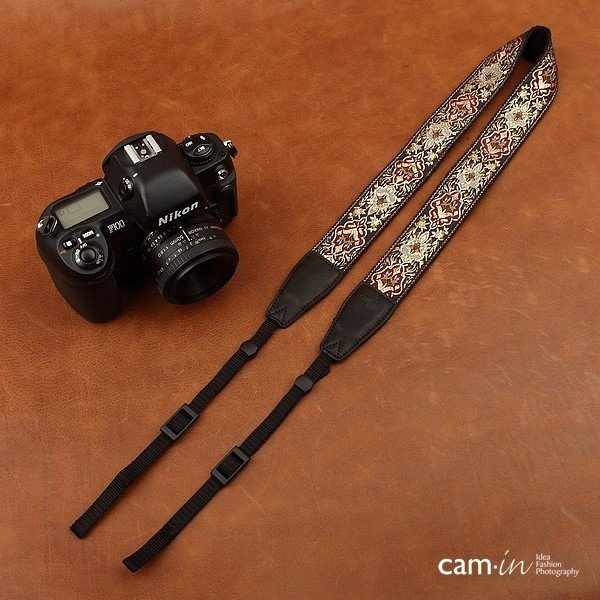 【CAM in】一眼レフ ミラーレス一眼レフ 用  カメラネックストラップ ラグジュアリーゴールド ヨーロピアン 刺繍デザイン カメラ女子にも【CAM8411】|asianzakka