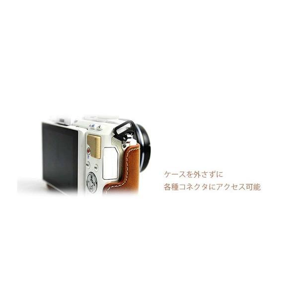 レザーカメラケース オリンパス OLYMPUS  PEN E-PL9 E-PL8 E-PL7用 お揃いカラーのストラップ付き PEN lite asianzakka 12
