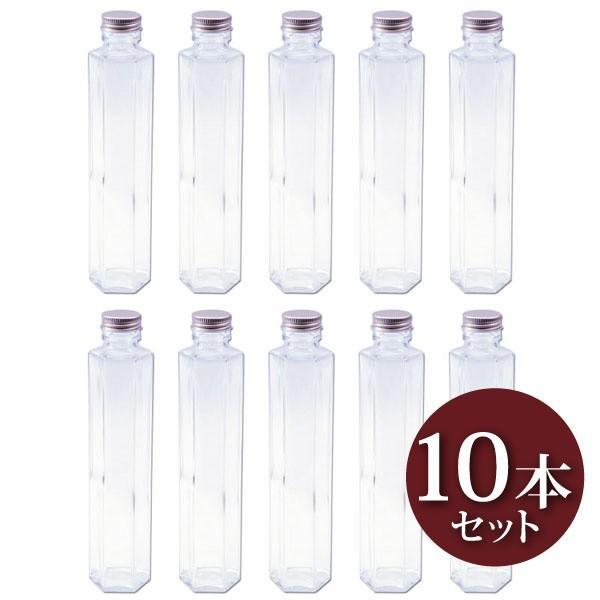 ハーバリウム 六角柱ガラス瓶 200cc 10本セット キャップ付 硝子ビン 透明瓶 角柱 花材 ウエディング プリザーブドフラワー インスタ SNS インテリ