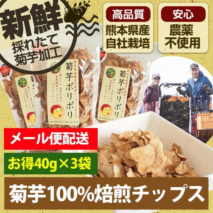 菊芋 チップス 菊芋ポリポリ 40g入り お得3袋セット イヌリン 水溶性食物繊維