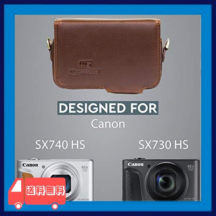 MegaGear MG1510 Canon PowerShot SX740 HS SX730 HS レザーカメラケース ストラップ付き - ブラック|asotosi55|05
