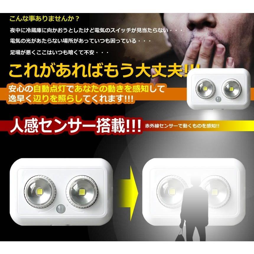 ピヴォット ダブル LED ライト 人感センサー 搭載 140度回転 寿命 80000時間 夜間 自宅 照明 万能 おしゃれ インテリア ET-PIVOLIGHT-W|aspace|03