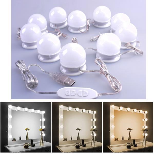 女優ライト LEDミラーライト メイクアップライト 三色調光 明るさ10段階調整 LED化粧鏡電球 10個 JYONINARU