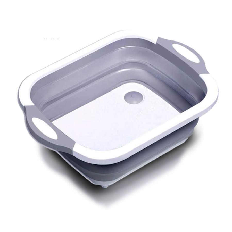 ワンタッチ 排水式 洗桶 洗い桶 折りたたみ 洗いおけ 水切り かご バケツ 排水機能 シリコン 取っ手付き 収納便利 WATAIOKE|aspace|06