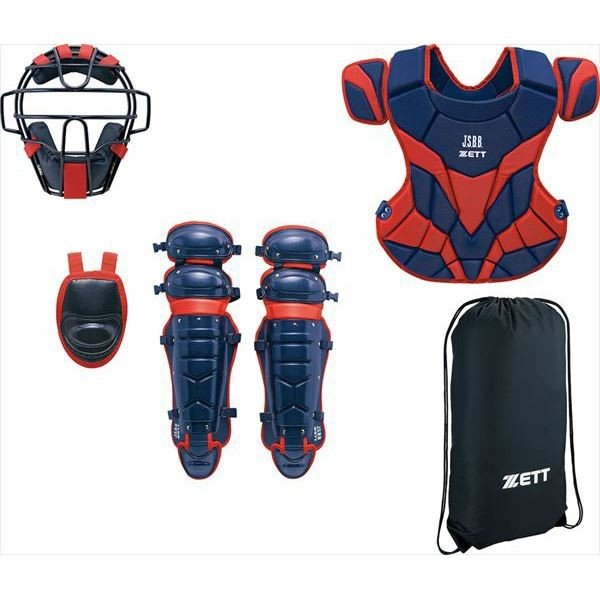 [ZETT]ゼット野球 軟式キャッチャー防具4点セット (BL338)(2964A) ネイビー/レッド[取寄商品]