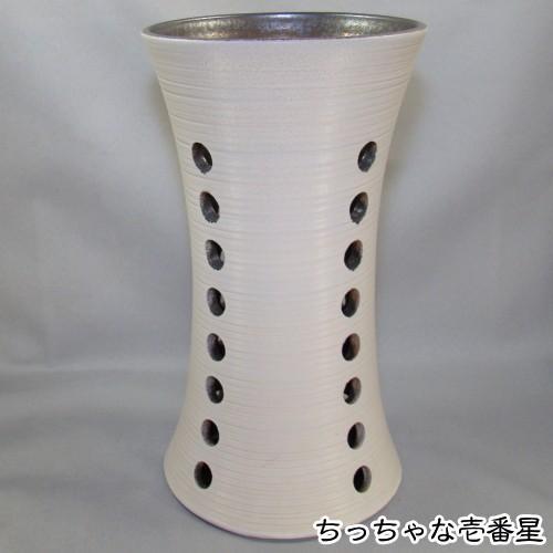 W250×D250×H465 信楽焼 陶器 白と金彩傘立 YKASA-0526-04 W250×D250×H465 信楽焼 陶器 白と金彩傘立 YKASA-0526-04