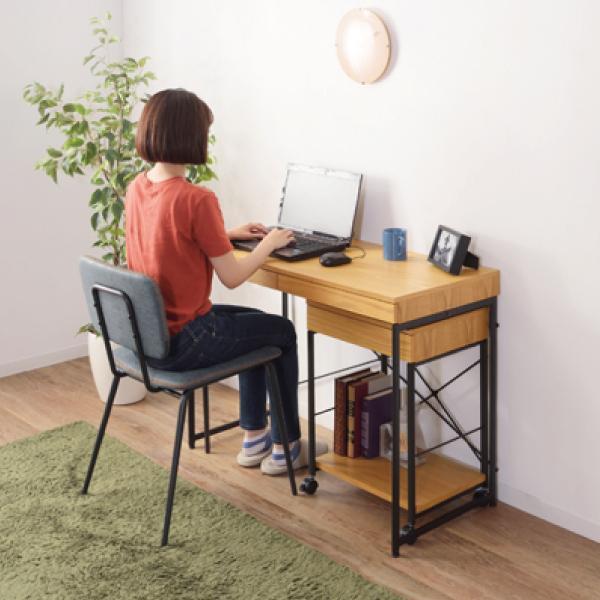 デスク テーブル 机 ナチュラル 木目 おしゃれ 北欧 パソコンデスク ユニットデスク 引き出し付 END-331NA / 東谷|astas-shop|12