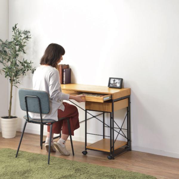 デスク テーブル 机 ナチュラル 木目 おしゃれ 北欧 パソコンデスク ユニットデスク 引き出し付 END-331NA / 東谷|astas-shop|09