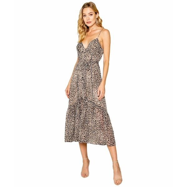 Mixed Button Taupe Midi Dress
