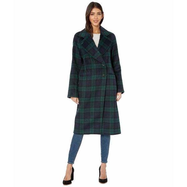 【メーカー直送】 アベックレフィレ コート アウター レディース Double Face Plaid Wool Raglan Coat Navy/Green, 家具サロン エルム a3308244