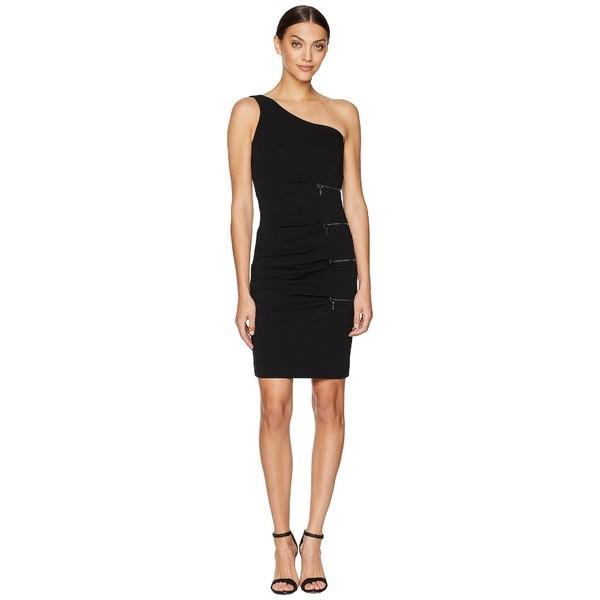 ニコルミラー ワンピース トップス レディース One Shoulder Dress with Zip Black
