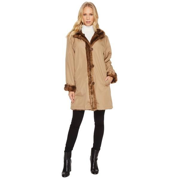 100%の保証 ケーシー コレクション コート アウター レディース Reversible Faux Fur Coat Taupe, マンネン 774b525c