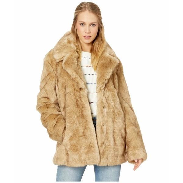 宅配 アベックレフィレ コート アウター レディース Faux Fur Notch-Collar Coat Natural, キンチョウ a286417b